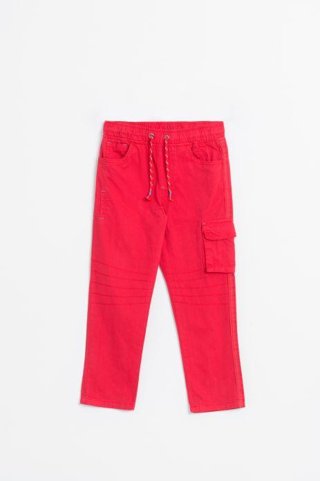 Spodnie tkaninowe w kolorze czerwonym z kieszonką na nogawce