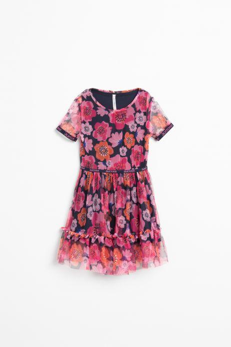 Sukienka tiulowa z krótkim rękawem w kolorowe kawiaty z ozdobnymi taśmami