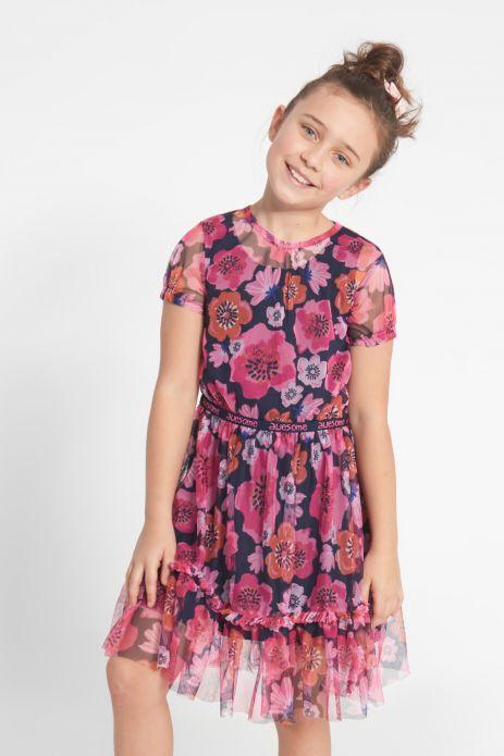 Sukienka z krótkim rękawem wykończona tiulem w kolorowe kwiaty