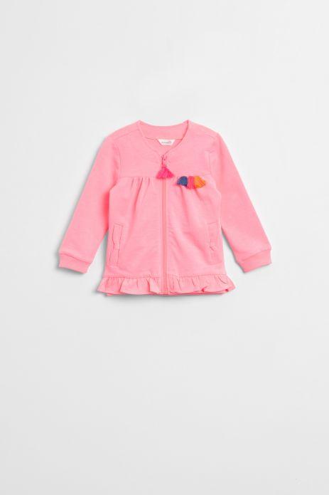 Bluza rozpinana w kolorze różowym z odobnym zamkiem i kolorowymi chwostami