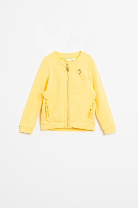 Bluza rozpinana ze stójką w kolorze żółtym z falbankami