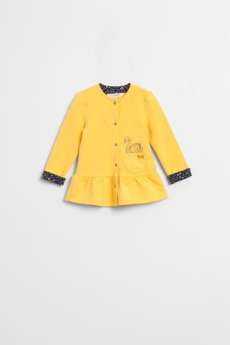 Bluza rozpinana w kolorze żółtym wykończona falbanką