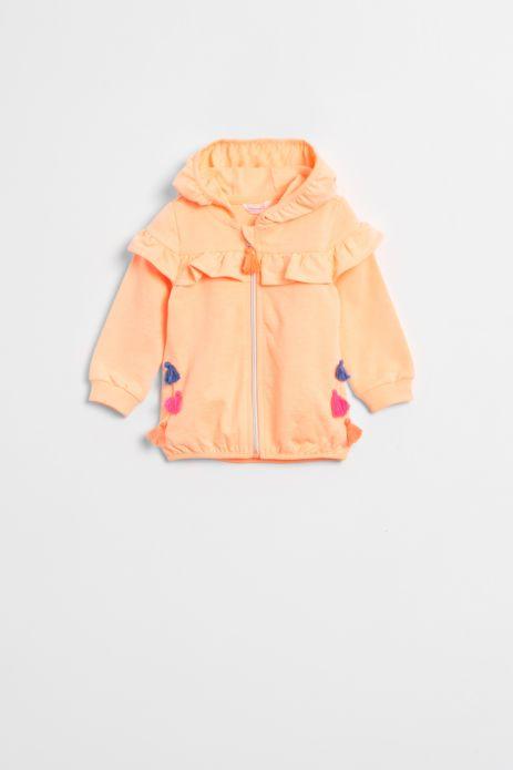 Bluza rozpinana z falbankami w kolorze pomarańczowym z kapturem