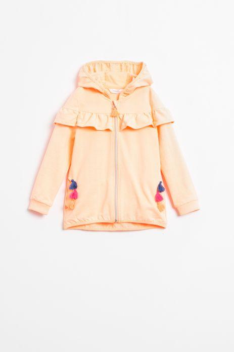 Bluza rozpinana z kapturem w kolorze pomaranczowym z kolorowymi chwostami