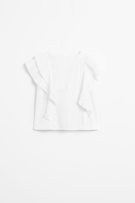 Bluzka nierozpinana z krótkim ozdobnym rękawem w kolorze białym
