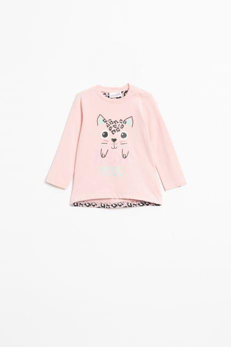 T-shirt z długim rękawem w kolorze różowym z nadrukiem