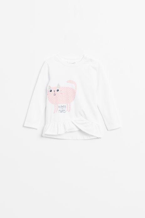 T-shirt z długim rękawem w kolorze białym z nadrukiem wykończony falbanką