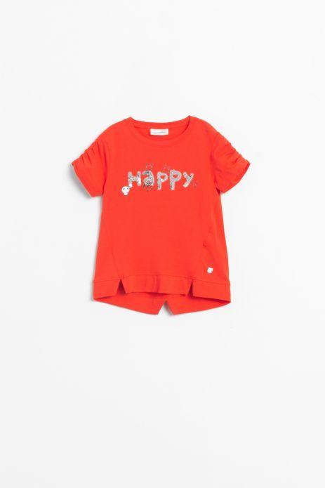 T-shirt z krótkim rękawem w kolorze czerwonym z cekinową aplikacją