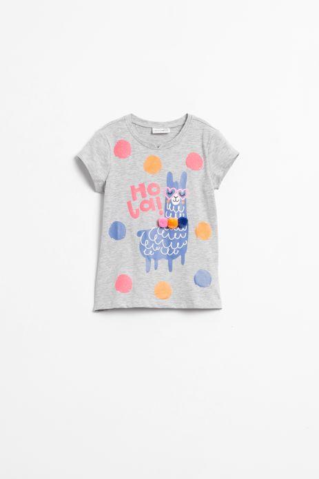 T-shirt z krókim rękawem w kolorze szarym z nadrukiem i ozdobnymi pomponami