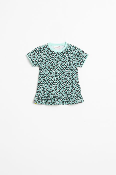 T-shirt z krótkim rękawem w kolorze seledynowym z nadrukiem wykończony falbanką