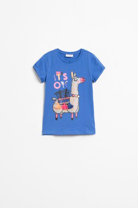 T-shirt z krókim rękawem w kolorze niebieskim z nadrukiem