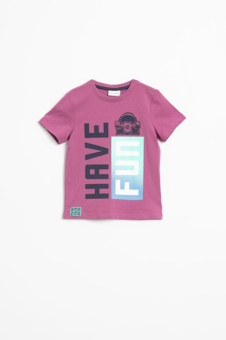 T-shirt z krótkim rękawem w kolorze różowym z napisami