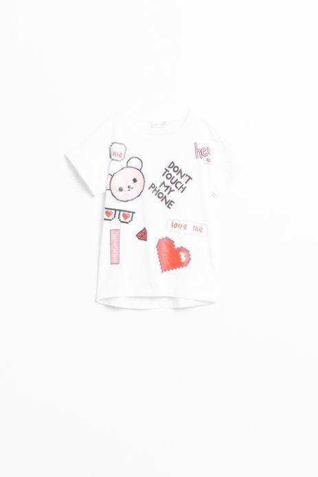 T-shirt z krótkim rękawem w kolorze białym z nadrukiem