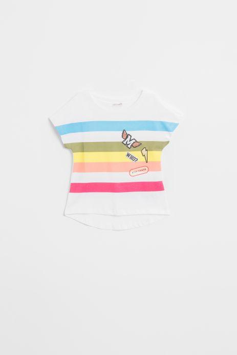 T-shirt z krótkim rękawem w kolorze białym w kolorowe paski