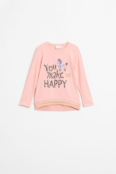 T-shirt z długim rękawem w kolorze różowym z brokatową aplikacją