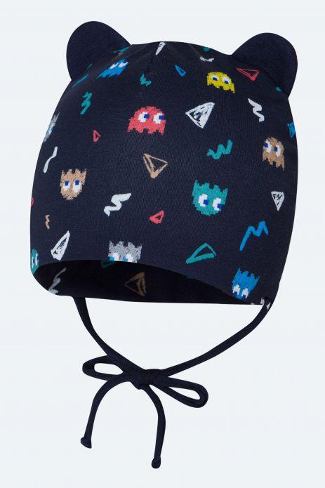 Wiązana czapka z uszkami