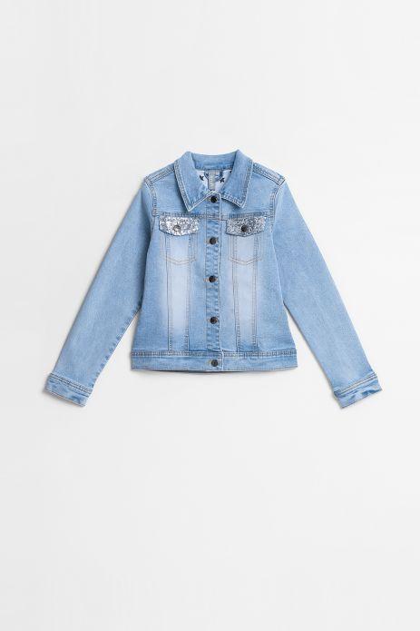 Jeansowa kurtka z cekinami na kieszonkach z przodu